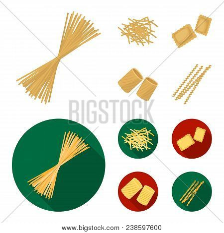 Different Types Of Pasta. Types Of Pasta Set Collection Icons In Cartoon, Flat Style Vector Symbol S