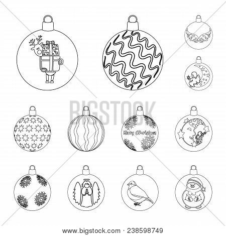 Christmas Toys Outline Icons In Set Collection For Design.new Year Balls Vector Symbol Stock Illustr