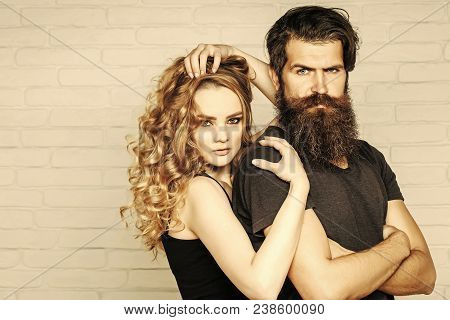 Fashion, Beauty, Style Concept. Girl And Bearded Hipster. Hipsterism, Subculture, Trend. Man With Be