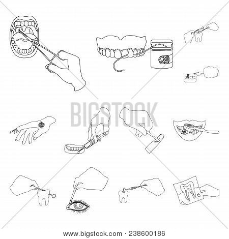Manipulation By Hands Outline Icons In Set Collection For Design. Hand Movement In Medicine Vector S