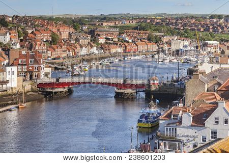 23 May 2017: Whitby North Yorkshire Uk - Whitby With The River Esk And The Swing Bridge, North Yorks