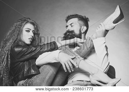 Couple Sitting On Chairs Young Woman Wearing Black Leather Jacket Jeans Diamante High Heels Pulling