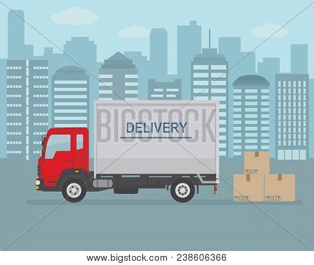 Delivery Van And Cardboard Boxes On City Background. Product Goods Shipping Transport. Fast Service