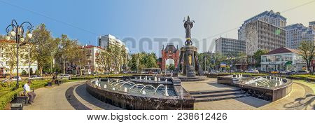 Krasnodar, Russia - May 2, 2017: Monument To The Holy Great Martyr Catherine.