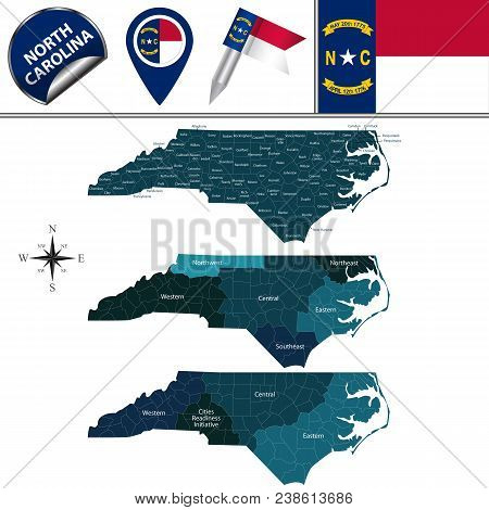 Vector Map Of North Carolina With Named Regions And Travel Icons
