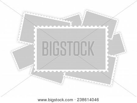 Many Old Retro Style Grey Blank Paper Postage Stamp Frames With Shadow Isolated On White Background
