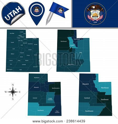 Vector Map Of Utah With Named Regions And Travel Icons