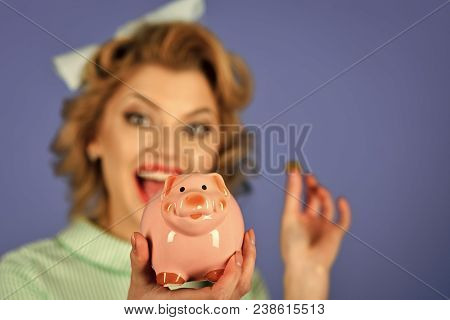 Crisis and loan, credit, retro woman. Money, sale, black friday shopping. Sensual girl save money for future. Bankruptcy and handout, family budget. Retro woman hold moneybox, piggy bank for savings. poster