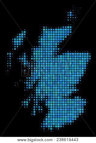 Halftone Dot Scotland Map. Vector Geographic Map In Blue Color Tinges On A Black Background. Vector