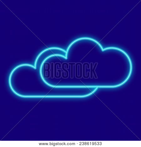 Weather. Clouds. Icons With Neon Glow Effect. Neon Light. Vector Image. Design Element Interface