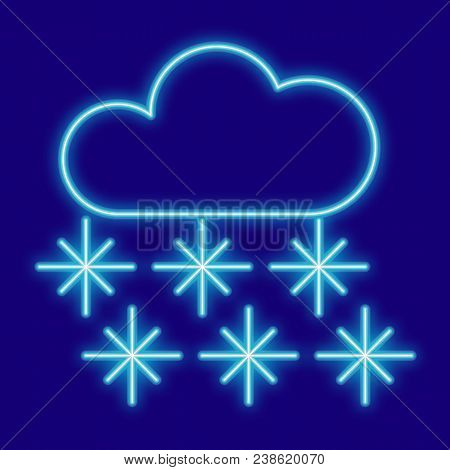 Weather. Clouds And Snowflakes. Icons With Neon Glow Effect. Neon Light. Vector Image. Design Elemen