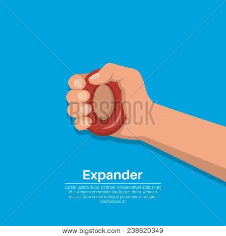 The Hand Squeezes A Rubber Carpal Expander.concept Of A Healthy Lifestyle. Training Of Muscles Of Ha