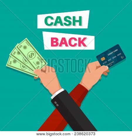 Cash Back. Hands With The Banknote And The Credit Card. Banner. A Bonus Upon Purchase. Incentive Act