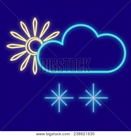 Weather. Sun, Clouds, Snowflakes. Icons With Neon Glow Effect. Neon Light. Vector Image Design Eleme