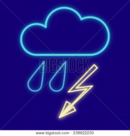 Weather. Cloud, Rain And Lightning, Drops, Thunderstorm Icons With Neon Glow Effect. Neon Light. Vec