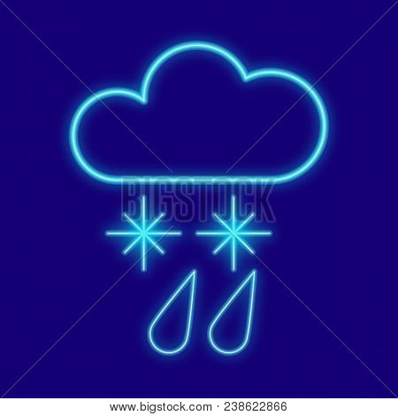 Weather. Clouds, Drops, Rain, Snow, Snowflakes. Icons With Neon Glow Effect. Neon Light Vector Image
