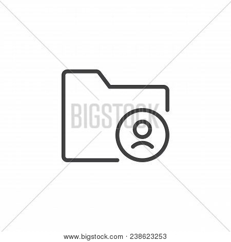 User Folder Outline Icon. Linear Style Sign For Mobile Concept And Web Design. Personal Document Fol
