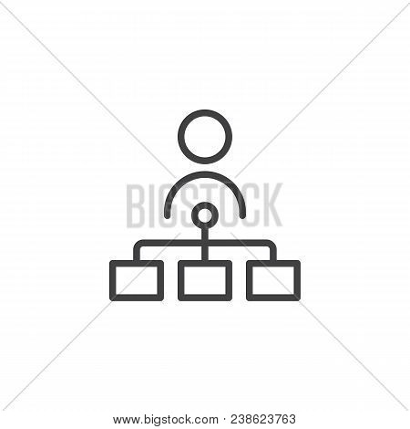 Teamwork Outline Icon. Linear Style Sign For Mobile Concept And Web Design. Flow Chart Simple Line V