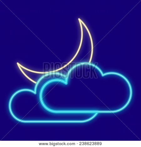 Weather. Clouds, Moon. Icons With Neon Glow Effect. Neon Light. Vector Image. Design Element Interfa