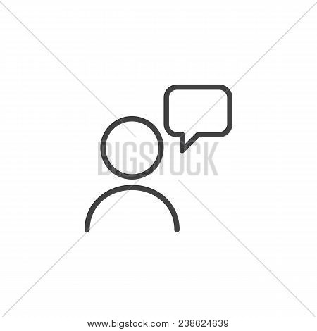 User And Speech Bubble Outline Icon. Linear Style Sign For Mobile Concept And Web Design. Talking Pe