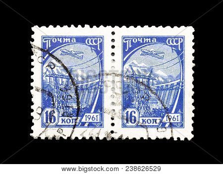 Soviet Union - Circa 1961 : Cancelled Postage Stamps Printed By Soviet Union,that Shows Hydroelectri