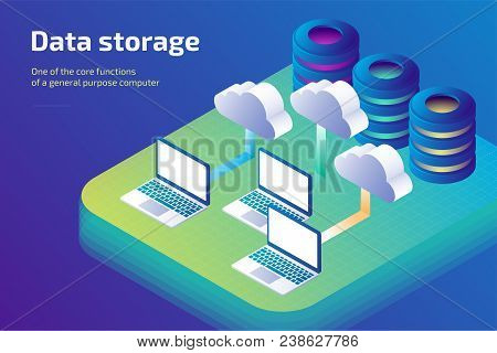 Cloud Data Storage And Cloud Storage Concept. Landing Page Template. 3d Isometric Vector Illustratio
