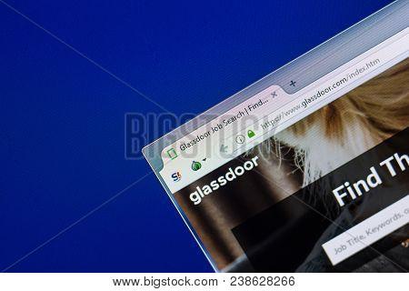 Ryazan, Russia - April 29, 2018: Homepage Of Glassdoor Website On The Display Of Pc, Url - Glassdoor