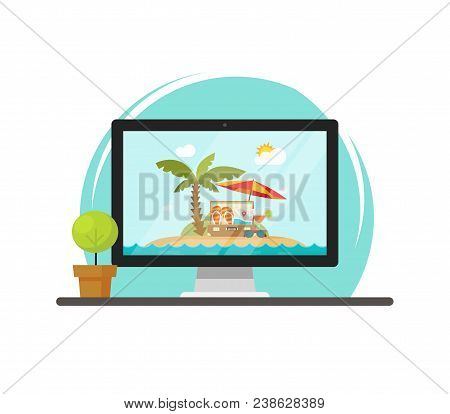 Online Travel Via Computer Vector Illustration, Concept Of On-line Trip Or Journey Booking Via Pc, F