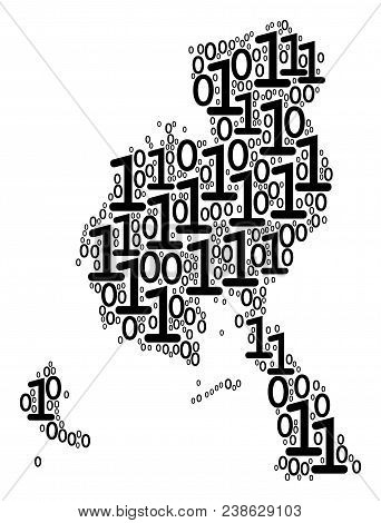 Veraguas Province Map Mosaic Icon Of Zero And Null Digits In Various Sizes. Vector Digital Symbols A