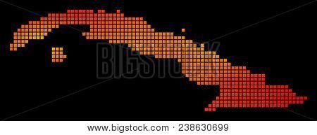Pixelated Orange Cuba Map. Vector Geographical Map In Fire Color Tones On A Black Background. Vector