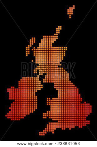 Pixelated Orange Great Britain And Ireland Map. Vector Geographic Map In Orange Color Tints On A Bla