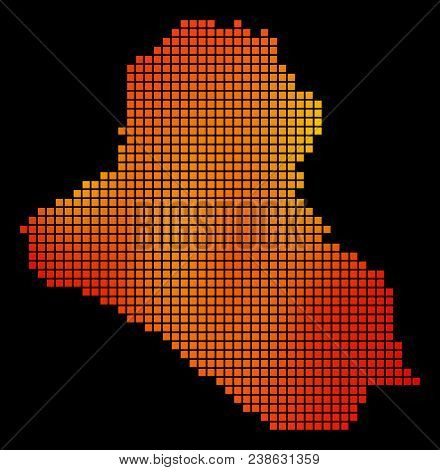 Dot Orange Iraq Map. Vector Territory Map In Fire Color Tints On A Black Background. Vector Collage