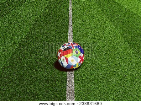 Soccer ball with flags of the world is ready for kick off on center line on artificial grass field (3D Rendering)