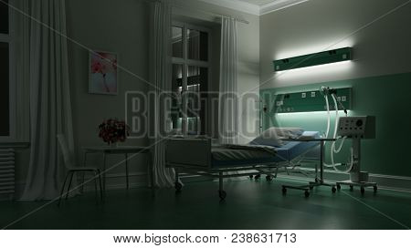 Empty bed in a hospital room of a hospital or clinic at night (3D Rendering)