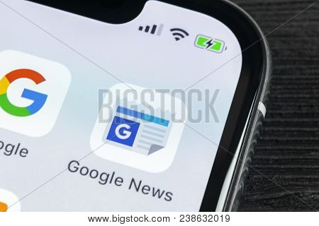 Sankt-petersburg, Russia, April 27 2018: Google News Application Icon On Apple Iphone X Smartphone S