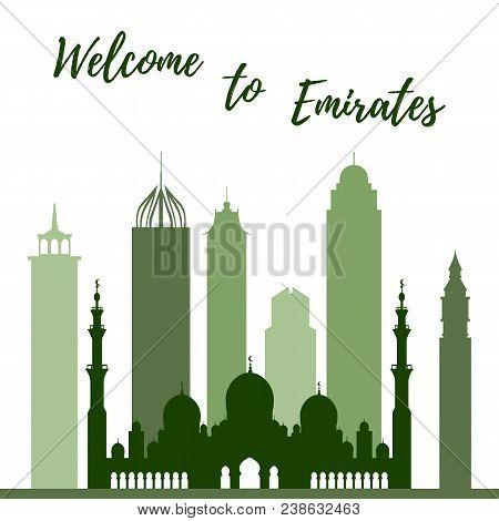 Vector Illustration Of United Arab Emirates Skyscrapers Silhouette. Dubai And Abu Dhabi Buildings. D