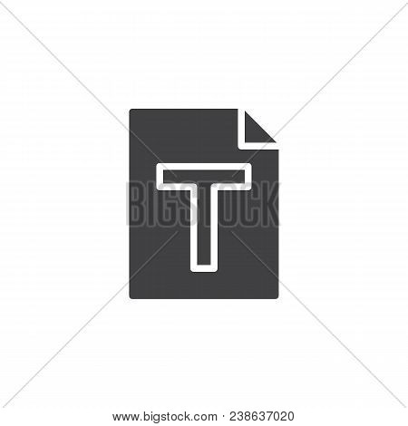 Txt File Format Vector Icon. Filled Flat Sign For Mobile Concept And Web Design. Text Paper Document