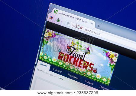 Ryazan, Russia - April 29, 2018: Homepage Of Tamilrockers Website On The Display Of Pc, Url - Tamilr