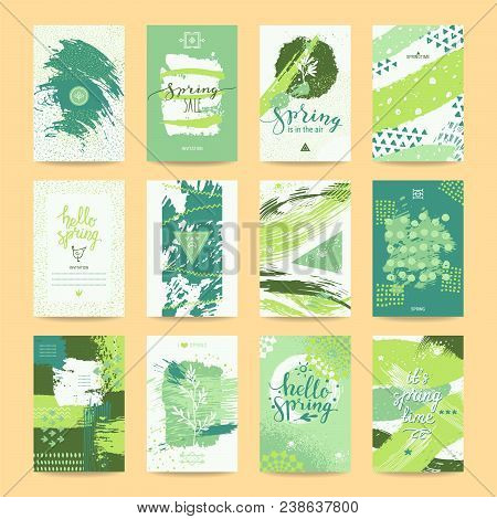 Hello Spring Greeting Card, Sale Ad, Party Invitation, Flyer And Poster. Springtime Templates Collec
