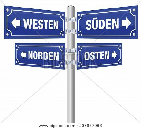 Cardinal Points Signpost. German Names, North, East, South And West Written On Four Signposts. Isola