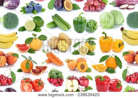 Fruits And Vegetables Collection Isolated Apple Orange Background Fresh Fruit