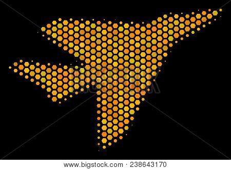 Halftone Hexagon Airplane Intercepter Icon. Bright Yellow Pictogram With Honeycomb Geometric Structu