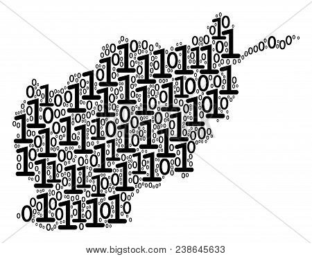 Afghanistan Map Mosaic Icon Of Zero And One Symbols In Various Sizes. Vector Digits Are Formed Into