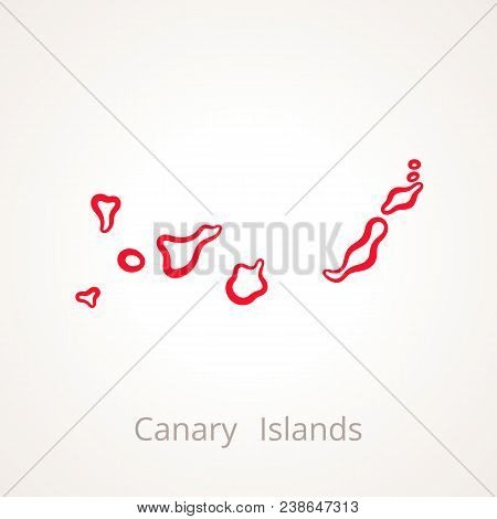 Outline Map Of Canary Islands Marked With Red Line.