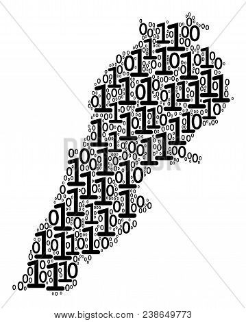 Lebanon Map Composition Icon Of Zero And One Symbols In Variable Sizes. Vector Digits Are Formed Int