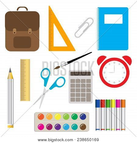School Supplies Learning Equipment And Different School Supplies Colorful Office Accessories. School