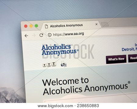 Amsterdam, The Netherlands - May 1, 2018: Homepage Of Alcoholics Anonymous (a.a), A International Mu