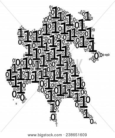 Peloponnese Half-island Map Collage Icon Of Zero And Null Digits In Various Sizes. Vector Digits Are