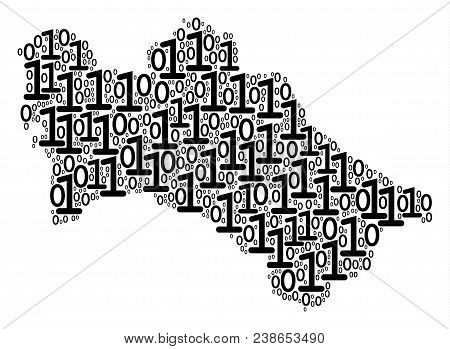 Turkmenistan Map Collage Icon Of One And Zero Digits In Various Sizes. Vector Digits Are Grouped Int