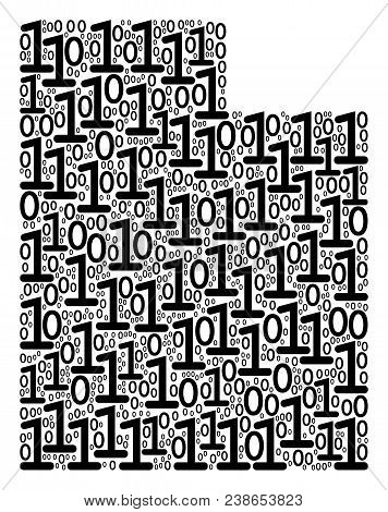 Utah State Map Collage Icon Of Zero And One Symbols In Variable Sizes. Vector Digits Are Formed Into